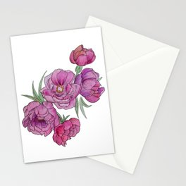 Peonies in Pink and Ink Stationery Cards