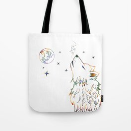 Wolf howling on moon sketch Tote Bag