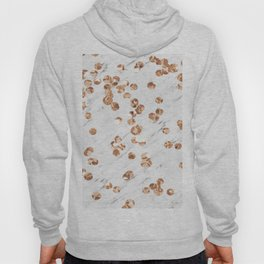 Rose gold crystals - white marble Hoody