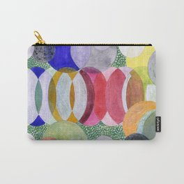 Overlapping Ovals and Circles on Green Dotted Ground Carry-All Pouch