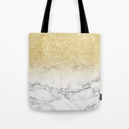 Modern faux gold glitter white marble color block Tote Bag