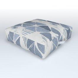 Simply Braided Chevron Indigo Blue on Lunar Gray Outdoor Floor Cushion