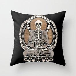 Starving Buddha - Wood Grain Throw Pillow