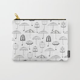Happy Umbrellas Pattern - white Carry-All Pouch