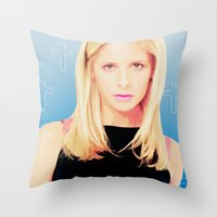 buffy the vampire slayer Throw Pillows featuring Buffy the Vampire Slayer, Cross by Your Friend Elle