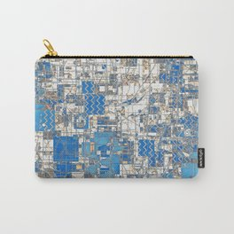 Multi Geometrical Pattern Faded Blues Carry-All Pouch
