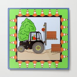 Fork Lift Block Metal Print