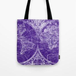 World Map (1691) Purple & White Tote Bag