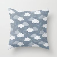 rain Throw Pillows featuring RAIN CLOUDS by Daisy Beatrice