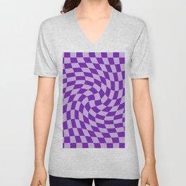Lilac Blue Night - simple warped check retro pattern Unisex V-Neck