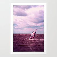 surfer Art Prints featuring surfer by Claudia Drossert