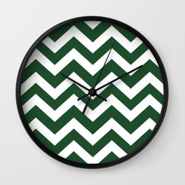 Cal Poly Pomona green - green color - Zigzag Chevron Pattern Wall Clock