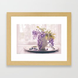 Wisteria by window Framed Art Print