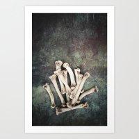 bones Art Prints featuring Bones by Maria Heyens