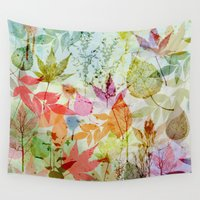 water colour Wall Tapestries featuring Fall impression, digital water colour art by thea walstra
