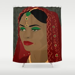 Indian Bride in red  Shower Curtain