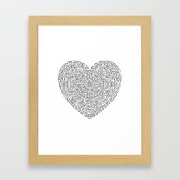 Mandala Heart with Flowers and Leaves for Adult Coloring Framed Art Print
