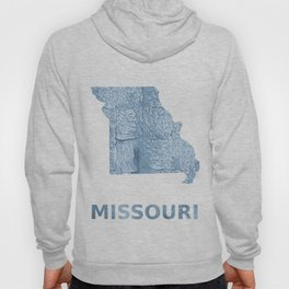 Missouri map outline Light steel blue blurred wash drawing Hoody