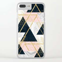 Elegant geometric and confetti golden design Clear iPhone Case