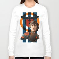 hiccup Long Sleeve T-shirts featuring Train a Dragon by milanova
