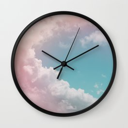 Pastel Clouds over Galveston Wall Clock