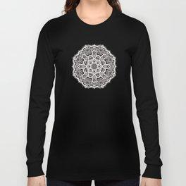 Mandala Project 209 | White Lace on Black Long Sleeve T-shirt