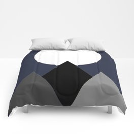Mountains & Moon In Night Sky Comforters