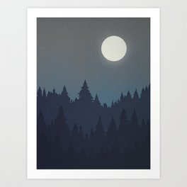 Tree Line - Grey Art Print