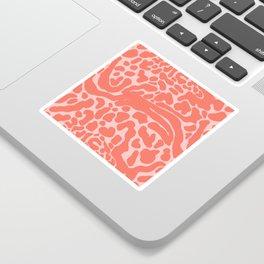 King Cheetah Print in Neon Coral + Blush Pink Sticker