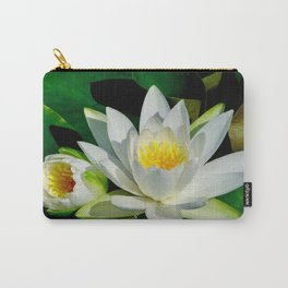 White Water Lily and Bud in Pond Carry-All Pouch