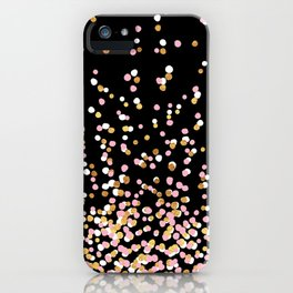 Floating Dots - White, Gold and Pink on Black iPhone Case
