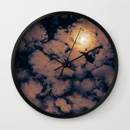 Full moon through purple clouds Wall Clock