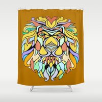 metallic Shower Curtains featuring Metallic Lion by J&C Creations