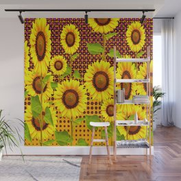 SPICE BROWN SUNFLOWERS ART Wall Mural