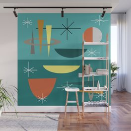 Turquoise Mid Century Modern Wall Mural