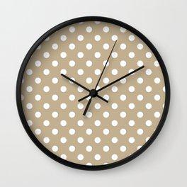 Small Polka Dots - White on Khaki Brown Wall Clock