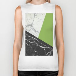 Black and White Marble with Pantone Greenery Biker Tank