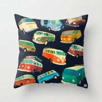 volkswagon Throw Pillows featuring Kombi Heaven by Buster Fidez