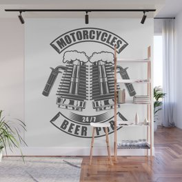 Beer pub emblem in vintage monochrome motorcycle style Wall Mural