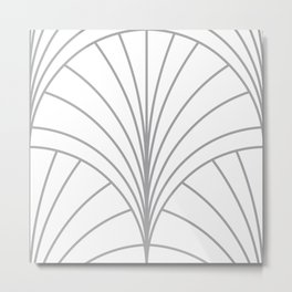 Round Series Floral Burst Grey on White Metal Print