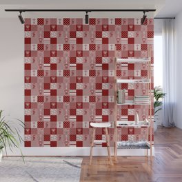 Jungle Friends Shades of Burgundy Cheater Quilt Wall Mural