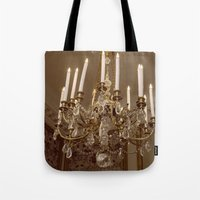 chandelier Tote Bags featuring Chandelier by Pati Designs & Photography