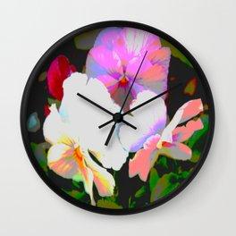 Painterly Pansies Wall Clock