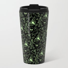 Cryptid Pattern: Green Lines Travel Mug