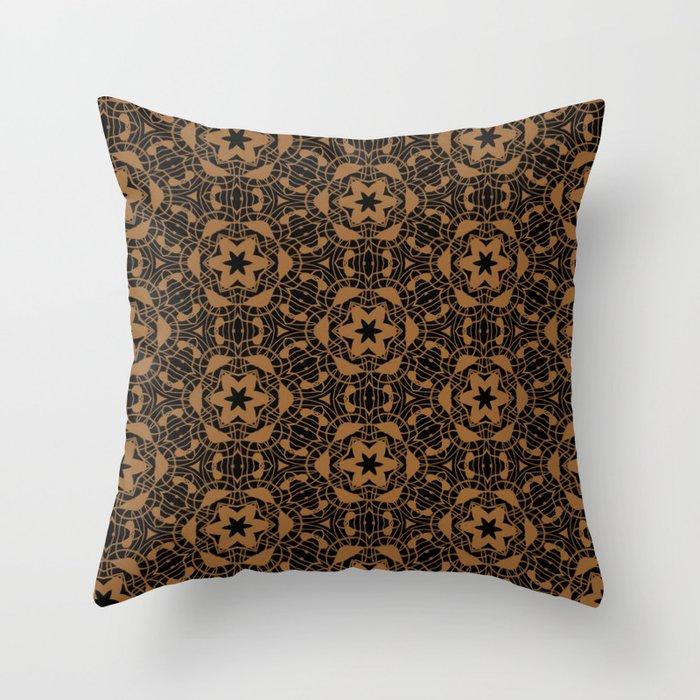 Black and Bronze Kaleidoscopes 2671 Throw Pillow