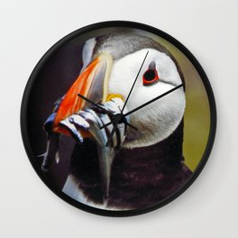 Puffin with Sand Eels Wall Clock