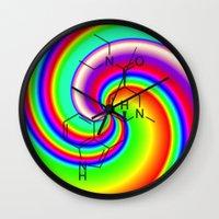 lsd Wall Clocks featuring LSD swirl by moleculestore