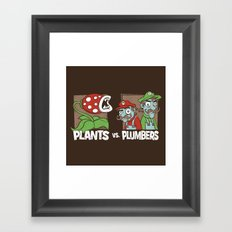 Plants Vs Plumbers  Framed Art Print