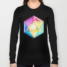 Retro Rainbow Patchwork Hexagon Long Sleeve T-shirt