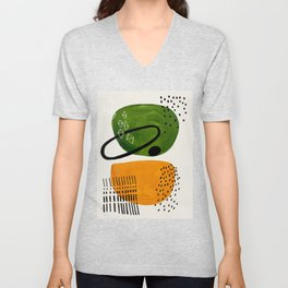 Mid Century Modern Abstract Colorful Art Patterns Olive Green Yellow Ochre Orbit Geometric Objects Unisex V-Neck